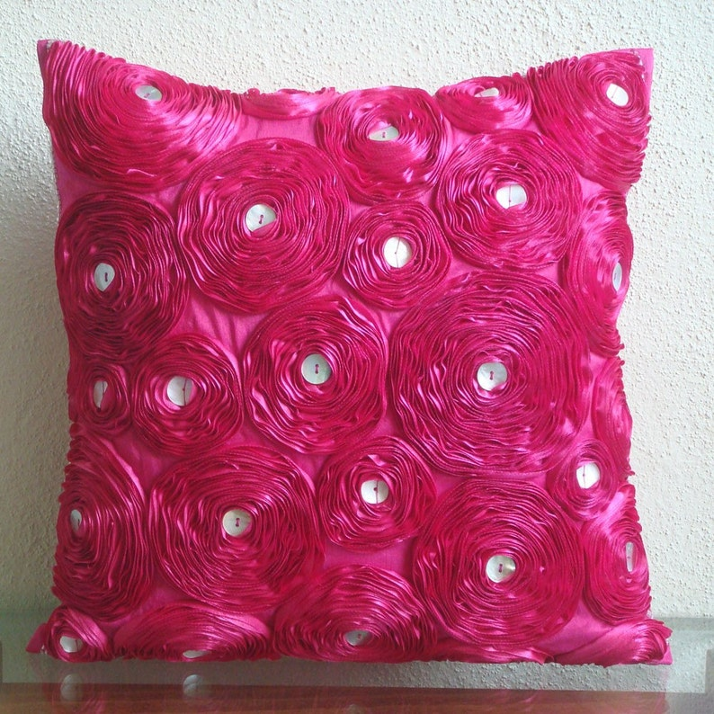 Fuchsia Power Pillow Sham Covers 24x24 Inches Silk Pillow Sham Cover with Satin Embroidery Decorative Pillow Covers