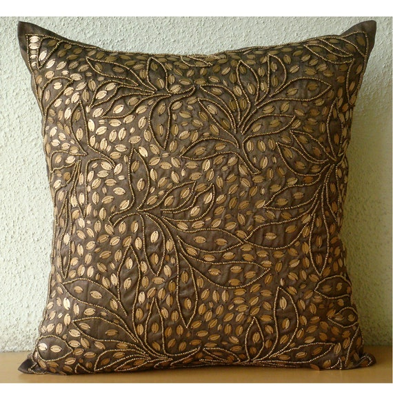 Brown Throw Pillows Cover For Couch Square Sequins Amp Beaded