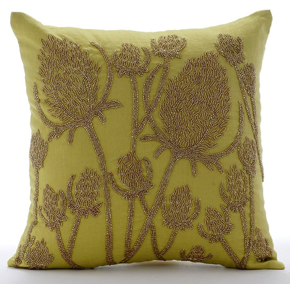 Green Pillow Covers Decorative Bed Pillows 40x40 Pillow Covers Etsy Best Gold Decorative Bed Pillows