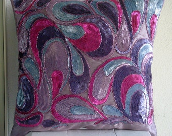 Royal Obsession - Throw Pillow Covers - 20x20 Inches Silk Pillow Cover Embroidered with Different Color Sequins & Beads