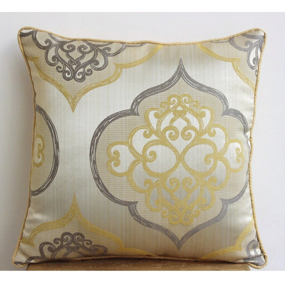 Luxury Yellow Throw Pillow Cover Damask Throw Pillow Cover Etsy Impressive Throw Pillow Covers Etsy