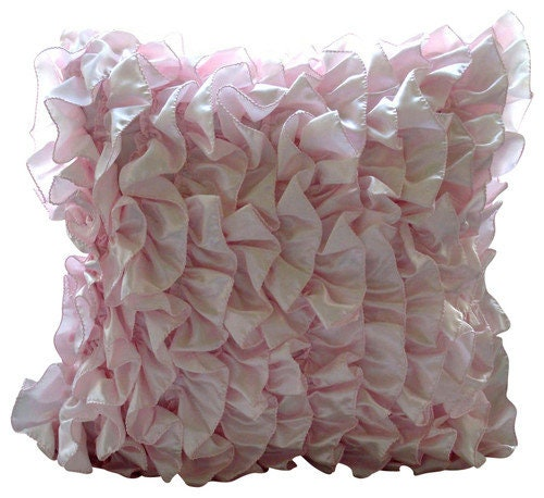 Vintage Inspired Classic Soft Pink Nursery: Luxury Soft Pink Pillows Cover Vintage Style Ruffles