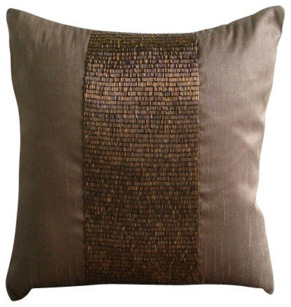 Dark Brown Throw Pillows.Decorative Handmade Dark Brown Decorative Pillow Cover 16 X16 Silk Throw Pillows Cover Square Metallic Beads Pillows Cover Center Stage