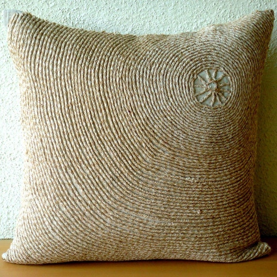 Awesome Handmade Ecru Pillow Cases Optic Jute Cord Pillows Cover Square 18X18 Cotton Linen Pillows Covers For Couch Home Throws Back To Earth Caraccident5 Cool Chair Designs And Ideas Caraccident5Info