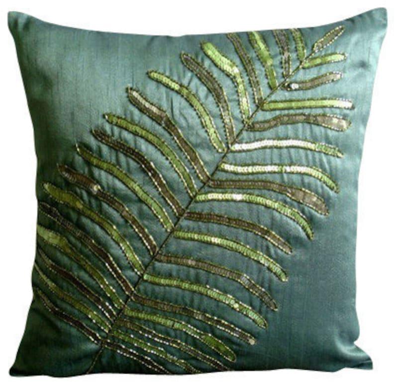 Designer Dark Green Euro Size Cushion Cover 24x24 image 0