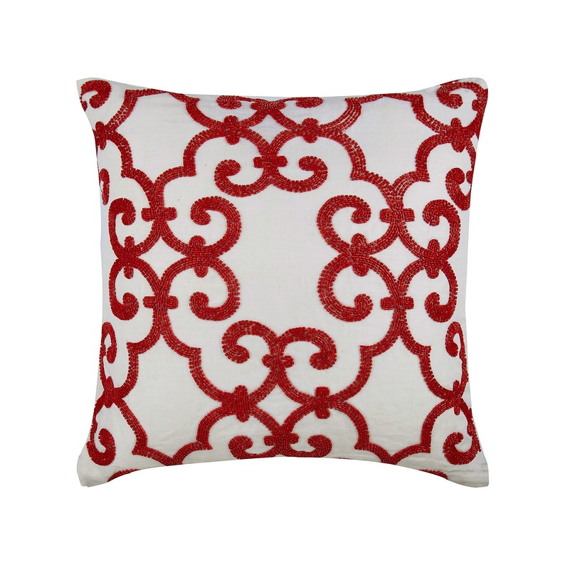 Awesome Luxury White Euro Shams Cover 26X26 Cotton Linen Euro Shamcase Square Red Sparkly Beads Turkish Geometric Euro Shams Red Encrusted Andrewgaddart Wooden Chair Designs For Living Room Andrewgaddartcom