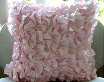"""Soft Pink Pillows Cover, 16""""x16"""" Satin Pillows Covers For Couch, Square  Vintage Style Ruffles Shabby Chic Pillow Cases - Vintage Soft Pink"""