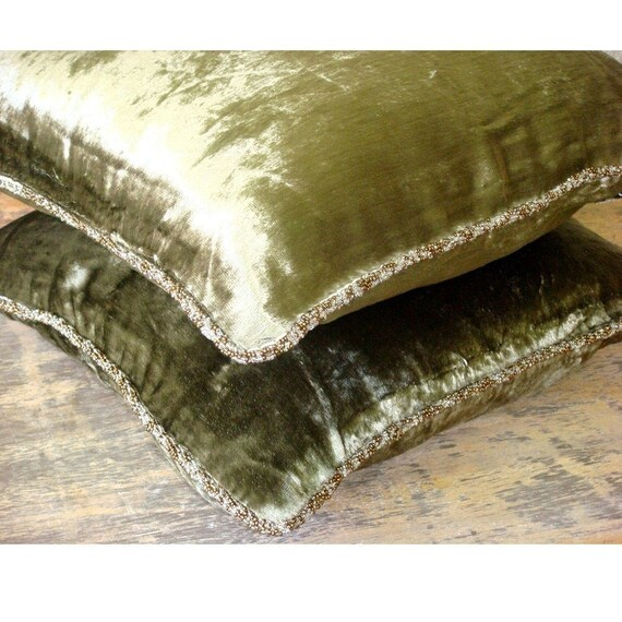 Olive Shimmer 16x16 Decorative Olive Green Sofa Cushion Cover Velvet Throw Pillow Cover Throw Pillow Case Solid Color Contemporary