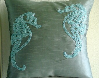 Sea Horse  - Pillow Sham Covers - 24x24 Inches Silk Pillow Sham Cover with Bead Embroidery
