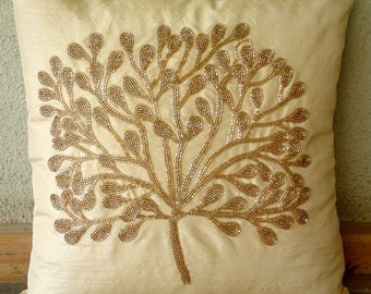 The Gold Tree - Throw Pillow Covers - 18x18 Inches Silk Pillow Cover with Bead Embroidery