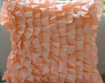 """Peach Pillow Covers,  Square  Vintage Style Ruffles Shabby Chic 16""""x16"""" Satin Pillow Covers - Vintage Peach Sorbet"""