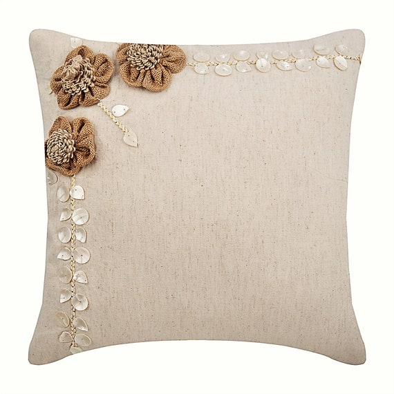 Super Ecru Throw Pillows Cover For Couch 16X16 Square Cotton Linen Pillows Covers For Couch Jute Blooms Caraccident5 Cool Chair Designs And Ideas Caraccident5Info