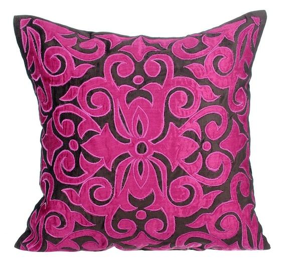24x24 Fuchsia Pink Silk Pillow Sham Covers Chevron Fuchsia Glam Pillow Sham Covers Square Silver Velvet Applique Pillow Sham Cover