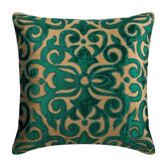 Stupendous Peacock Green Choco Couch Cushion Covers Sofa Toss 26 X 26 Pillow Covers Velvet Appliqued Decorative Pillows Loyal To Peacock Green Inzonedesignstudio Interior Chair Design Inzonedesignstudiocom