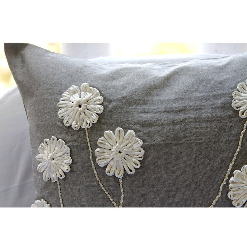 24x24 inches Silk Pillowcase Floral Whispers Luxury Grey Pillow Sham Covers Square Ribbon Flower Pillows Cover Bed Pillow Shams 24x24