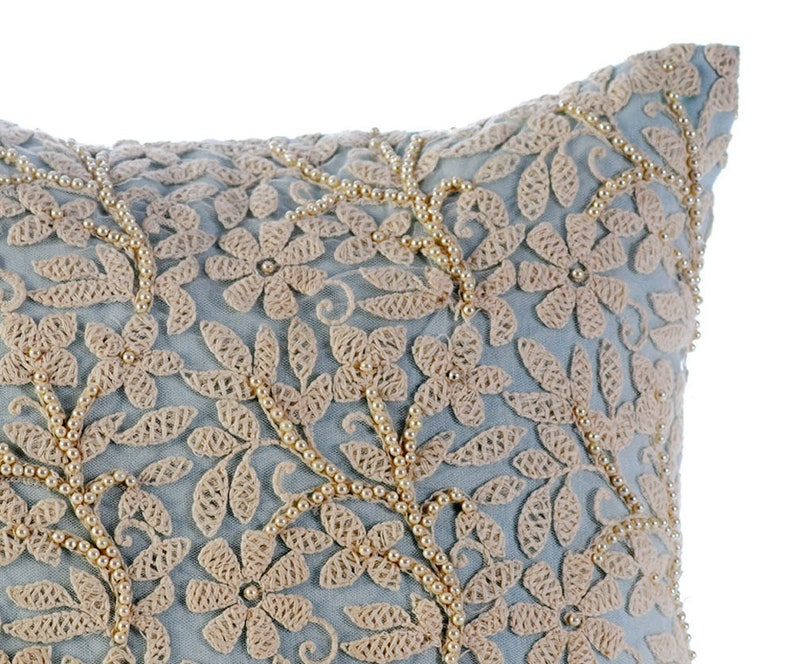 Floral Jaal Square Pearls /& Crochet Lace Boudoir French Theme 24x24 Cotton Linen Pillow Sham Covers Home Throws Light Blue Pillow Shams