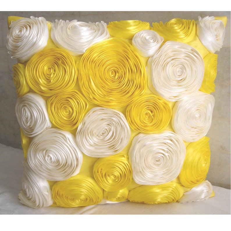 Sunny Yellow Blooms Euro Sham Cover Accent Pillow Decorative Pillow Throw Pillow 24x24 Inch Yellow Silk Pillow Sham Satin Ribbon Embroidery