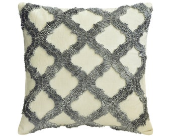 """Decorative Throw Pillow Cover 16""""x16"""" Linen Sofa Pillow Cover Ribbon Embroidery Geometric Pattern Modern Style Home Decor - Quilling Grey"""