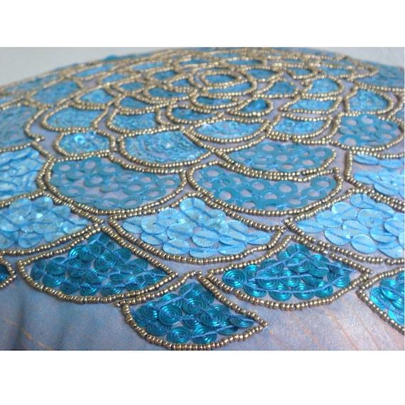 Bleu Housses De Coussins, 40x40 cm Soie, Carré 3D Paillettes Flower  Médaillon Thème Floral Coussins Couverture ... d88c29684ec