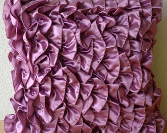 """Purple Accent Pillows,  Square  Vintage Style Ruffles Shabby Chic 16""""x16"""" Satin Pillows Covers For Couch - Vintage Vines"""