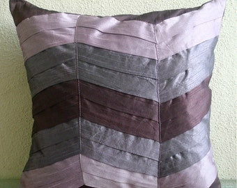 Plum Waves - Pillow Sham Covers - 24x24 Inches Silk Pillow Sham Cover in Shades of Plum and Purple