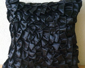 """Designer Black Pillow Covers, 16""""x16"""" Satin Throw Pillows Cover, Square Vintage Style Ruffles Shabby Chic Pillow Cases - Vintage Black"""