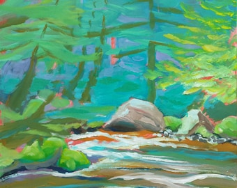 Sandy River 1 original plein air abstract landscape oil painting