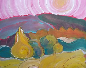 Valley Morning 23. Original abstract landscape oil painting