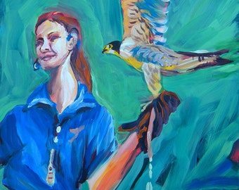 Falcon and Trainer, original painting by Pam Van Londen