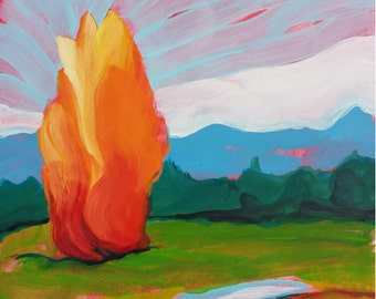 Valley Morning 17 original abstract landscape oil painting