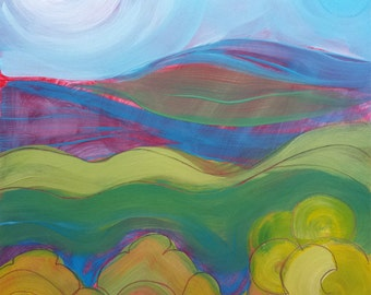Valley Morning 22. Original abstract landscape oil painting