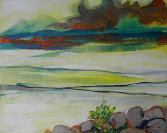 Willamette River 31 original plein air landscape acrylic painting
