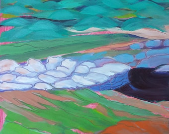 Quartzville Creek 6 original plein air abstract landscape oil painting
