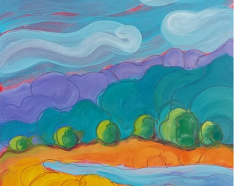 Valley Morning 18 original abstract landscape oil painting
