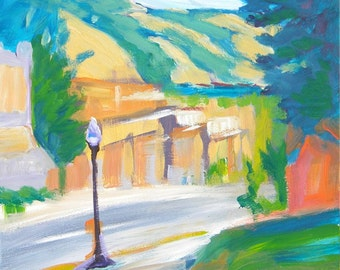 Hood River Downtown 1 original plein air abstract landscape oil painting