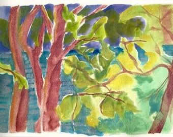 Willamette River 16 original iridescent watercolor on cotton paper