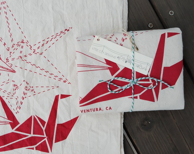 Hand Printed Flour Sack Tea Towels - Paper Cranes - Set of 2, Scarlet on Natural | Handmade Hand Printed Holiday Gift