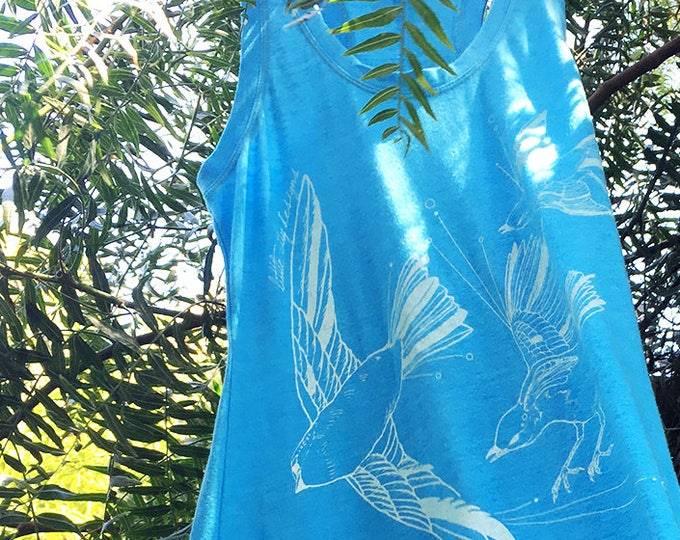 Organic Cotton Sundress - Fly Away Sparrows - White on Sky Blue | Hand Printed Maxi Dress | Screen Print Dresses