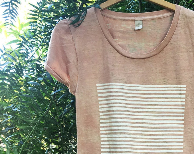 Stripes & Stripes - Nude Burnout Women's T-shirt | Slim Fit Womens T Shirts | Hand Printed Tops | Striped Cotton Blend Top