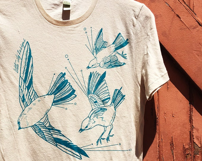 Organic Cotton Tee - Fly Away Sparrows - Vivid Teal on Natural White | Hand Printed T-Shirt | Screen Print Shirts