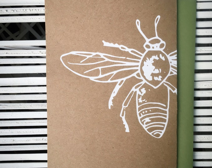 Honey Bee Hand Printed Greeting Card | Handmade Holiday Cards | Honeybee Screen Print Notecard