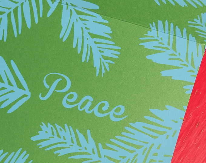 Hand Printed Holiday Card - Winter Greens | Handmade Holiday Greeting Cards | Screen Print Notecard | Silk Screened Notecards