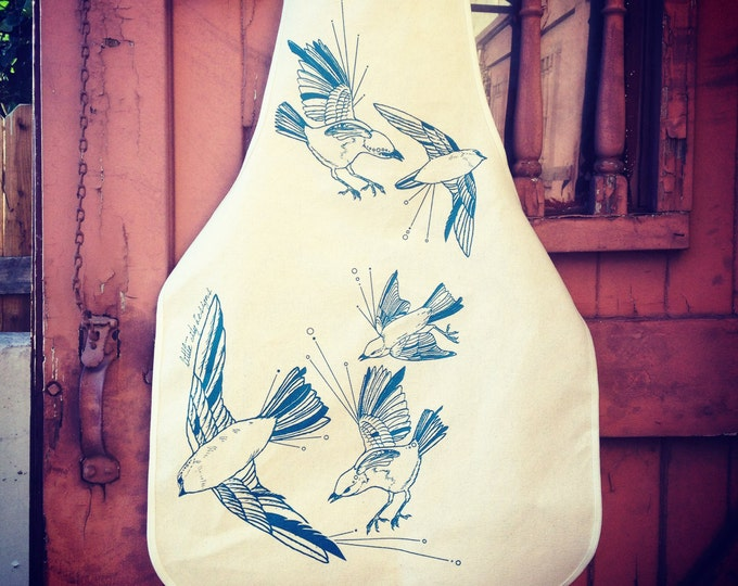 Hand Printed Kitchen Apron,  Fly Away Sparrows on Unbleached Cotton Canvas   Handmade Holiday Gift   Bird Aprons