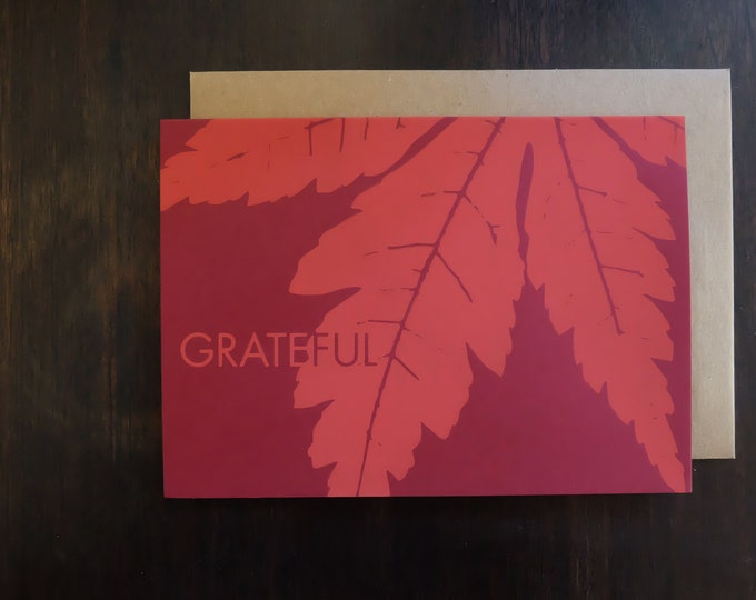 Hand Printed Holiday Greeting Card | Thanksgiving Cards | Screen Printed Autumn Maple Leaf Notecard