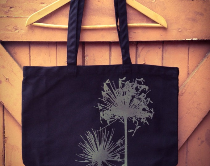 Last in Stock! Agapanthus Tote in Organic Cotton Canvas - Desert Sage on Rich Black
