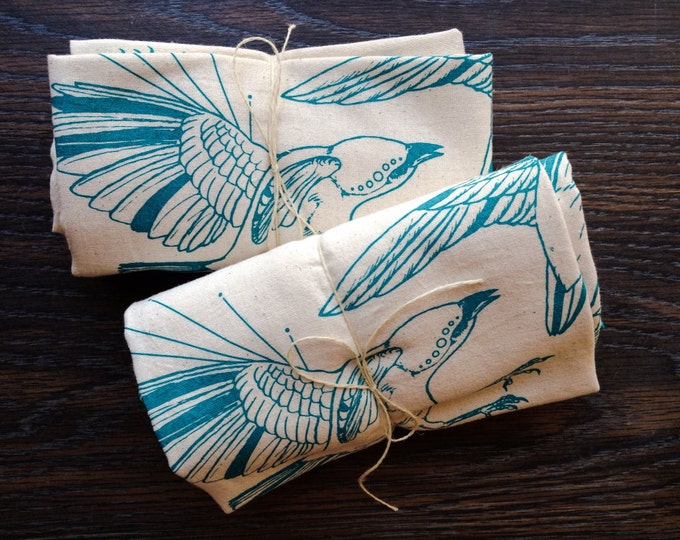 Flour Sack Tea Towels - Fly Away Sparrows - Set of 2 | Hand Printed Handmade Holiday Gift | Screen Print Kitchen Towel