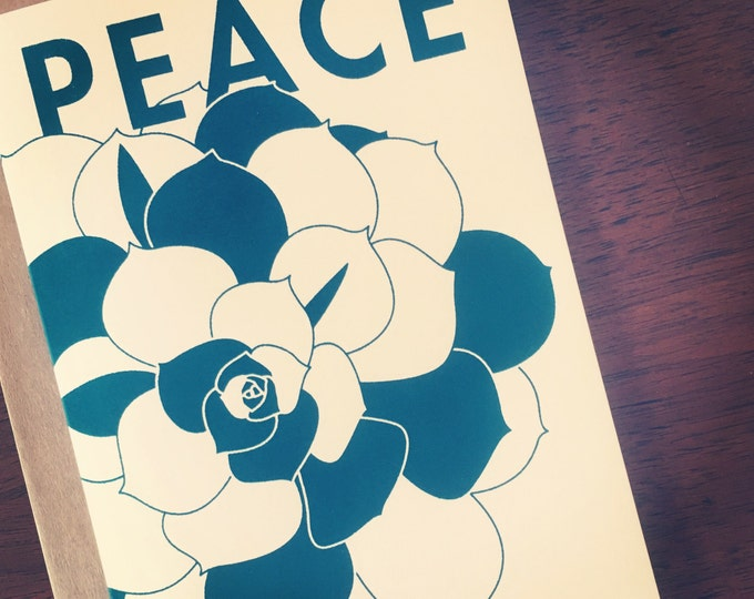 Peace & Succulents Limited Edition Hand Printed Holiday Greeting Card