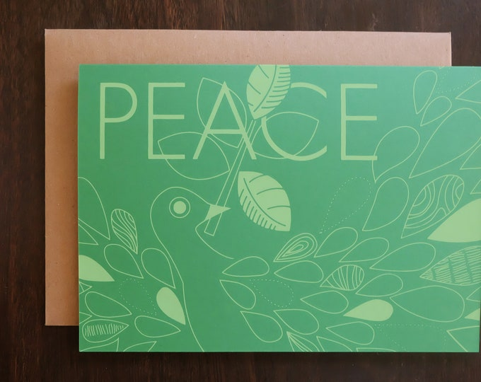 Hand Printed Holiday Card - Winter Dove | Handmade Screen Print Holiday Greeting Cards