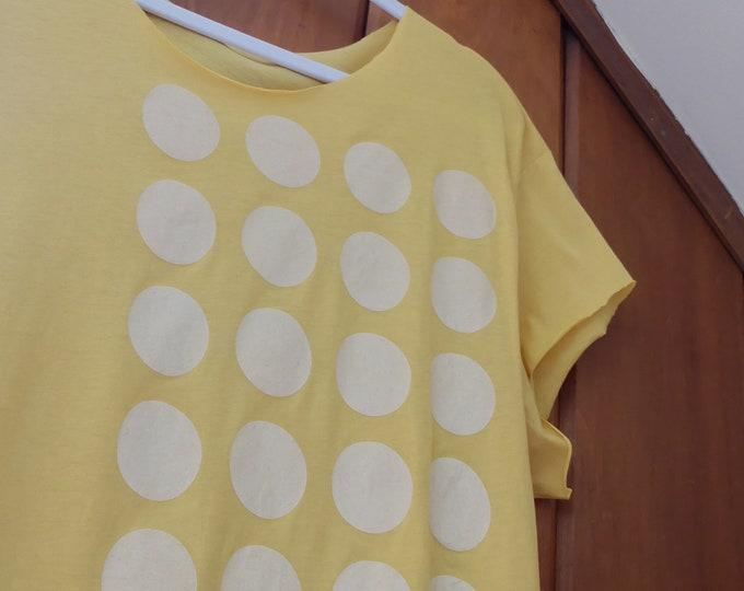 Organic Cotton T-shirt Many Moons | Hand Printed Shirt | Polka Dot Screen Print Tshirt | Hand Cut T-shirts | Moon Prints Shirts