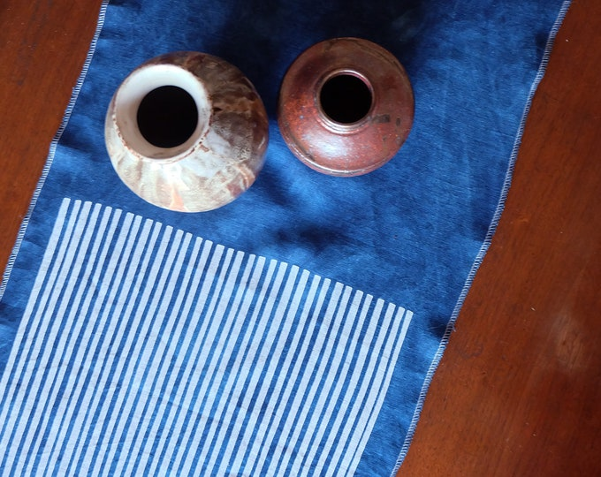 Stripes & Indigo Hand Printed Linen Table Runner | Hand Dyed Handmade Linens | Hand Made Homeware | Summer Decor Gifts | Wedding Gift